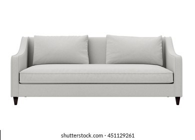 Modern sofa white fabric three seat isolated on white background.