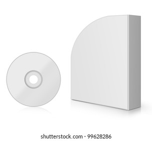 Modern Software Box, blank box with DVD or CD.