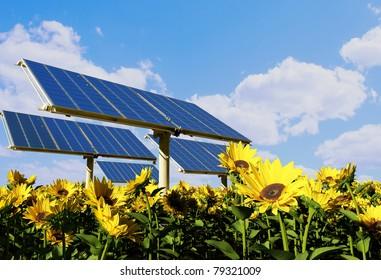 Modern solar battarei on a background of the sky