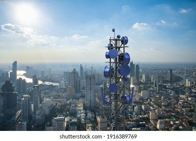 Modern solar cell antenna for 5G cellular network on city background, Future technology renewable energy concept