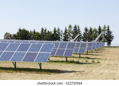 Modern solar panels reflecting the bright sunshine