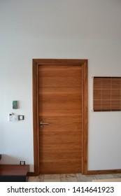 modern solid wood door in in a room