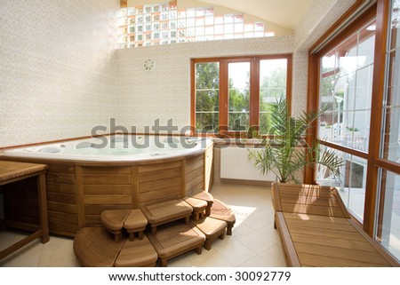 Modern spa interior jacuzzi stock photo edit now