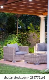 Modern space for relax in beauty garden