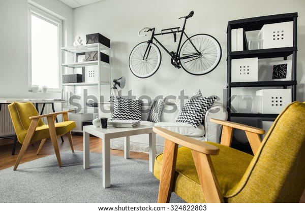 Modern Space Yellow Armchairs Black White Stock Photo (Edit ...