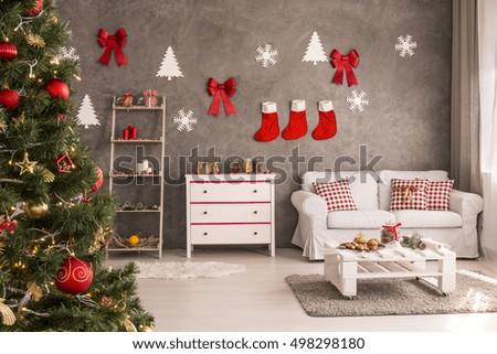 Modern spacious living room decorated christmas stock photo edit