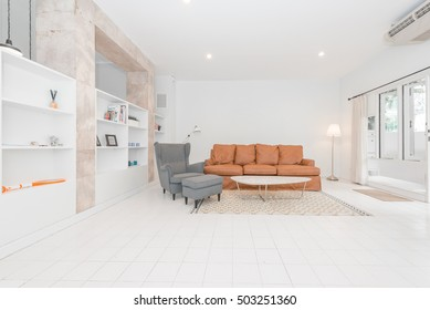 Modern spacious lounge or living room interior