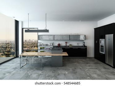 Modern spacious open plan modern kitchen in a monochrome home with fitted appliances and view through large floor to ceiling windows of the city below, 3d rendering