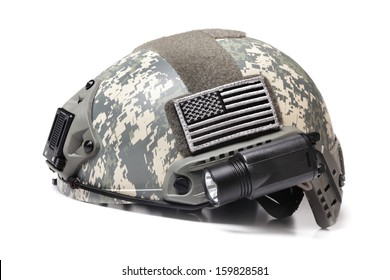 Modern Spec Ops Acupat Camo Helmet with USA Flag Patch Isolated on White