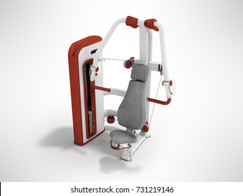 Modern sport exercise machine for the body perspective 3d render on a gray background