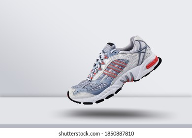 Modern sport shoes, trainers detailed. Most popular model of sneakers. Street fashion.