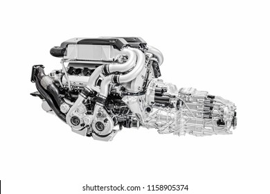 Modern sportive Car Engine motor Isolated on White