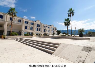 Modern square in modern district of Budva, Montenegro.