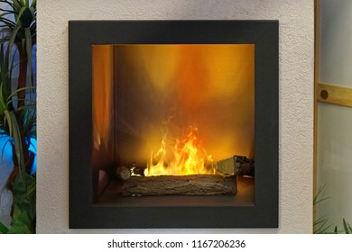 Modern square electric fireplace with led lights