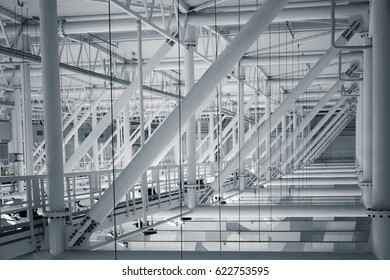 a modern stadium metal the construction of a roof