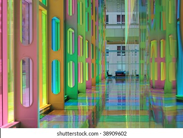 Modern stained glass interior. Palais des congress, Montreal.