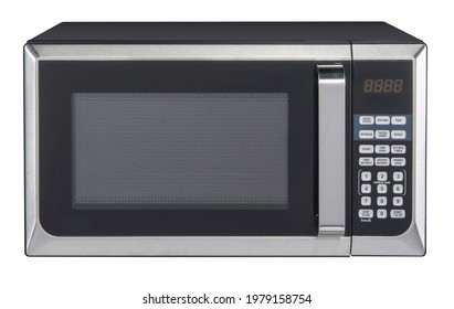 Modern stainless steel microwave oven with hand isolated on white background, front view