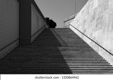 Modern staircase in Black and White. This staircase is located in Valletta near City Gate (so-called Putirjal) on Malta