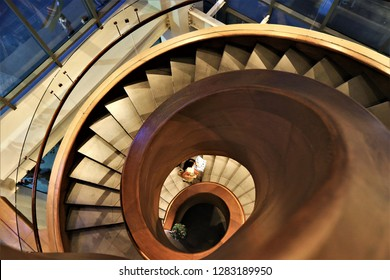 modern staircase with spiral staircase , spiral staircase in the modern building of the capital city