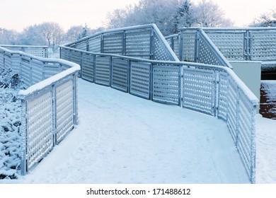 Modern steel balustrades in winter