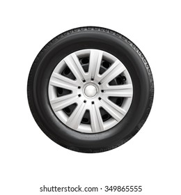 Modern steel car wheel with decorative plastic cover isolated on white background