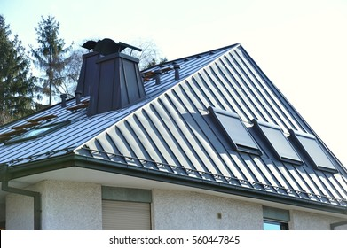 Modern Steel-Roof with Roof-Windows and Fume Hoods