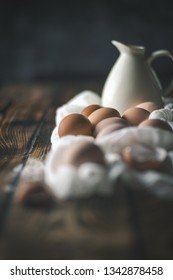 Modern Still life with eggs on wooden boards