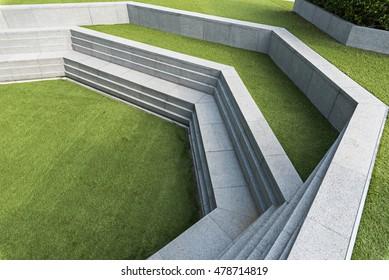 modern stone wall step design in garden