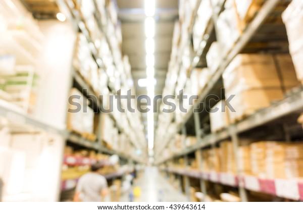 Modern Store Blurred Large Furniture Warehouse Stock Photo ...