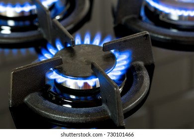 Modern stove, gas cooker in the house. Flames of burner with depth of field.