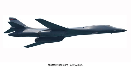 Modern strategic nuclear bomber isolated on white