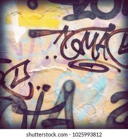 Modern Street Art Abstract Frame Background Or Square Texture. Grunge Brick Wall With Graffiti Art. Urban Surface With Grafiti. Old Brickwall With Modern Street Grafitti Art Elements.