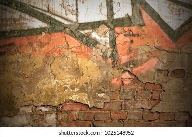 Modern Street Art Horizontal Background Or Texture. Grunge Brick Wall With Graffiti Art. Urban Surface With Grafiti. Old Building Brickwall With Modern Street Grafitti Art Fragment
