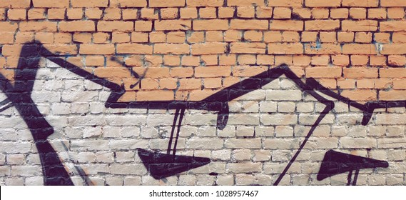 Modern Street Art Horizontal Background Or Texture. Grunge Brick Wall With Graffiti Art. Urban Surface With Grafiti. Old Building Brickwall With Modern Street Grafitty Art Fragment. Abstract Banner