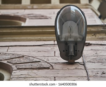 modern street lamp close-up photo from bottom - Shutterstock ID 1640500306