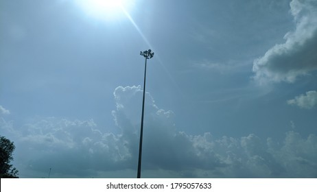 Modern street light on express highway, street lamp, classic panorama rays, retro streetlamp, bright electricity rays. High voltage electricity lights spreads rays outside of the road.