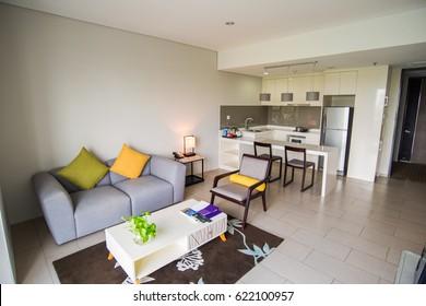 Modern studio apartment with furniture