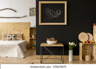 Modern studio apartment with wooden and natural decoration