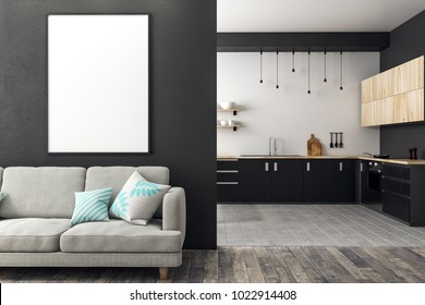 Modern studio interior with living room, kitchen and empty billboard on concrete wall. Mock up, 3D Rendering