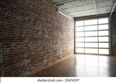 Modern studio loft with garage door