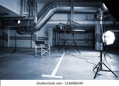 modern studio in parking lot