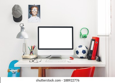 Modern study room for a boy./ Desk in a child's bedroom.