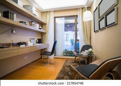 Modern Study Room With Nice Book Self