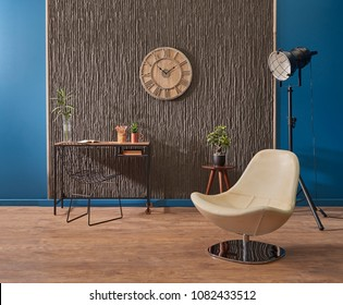 Modern study and work room interior concept with clock chair and vase of flower design. Home study and work shop decoration.