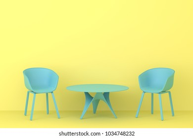 modern style blue chair with blue table in yellow living room. Minimal style concept. pastel color style.