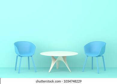 modern style blue chair with white table in blue living room. Minimal style concept. pastel color style.