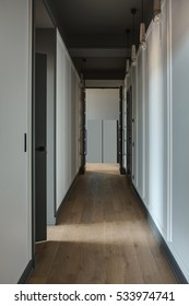 Modern style corridor with white walls and a parquet on the floor. There are black doors and hanging lamps on the ceiling. Vertical.