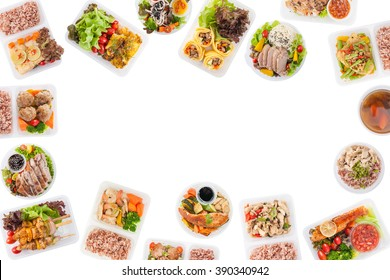 Modern style cuisine cooked by clean food concept including European, Japanese, Thai, and Chinese food style in lunch box on white background with blank area for text or messages