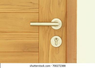 Modern style door handle on wooden door