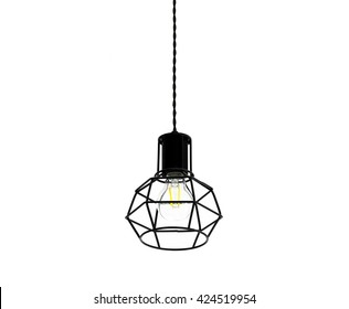 Modern style light bulb lamp on white background.